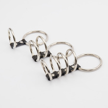 New Stainless Steel Male Chastity Belt Metal Cock Ring Ball Stretcher PU Leather Penis Rings Sex Toys for Men Sex Products