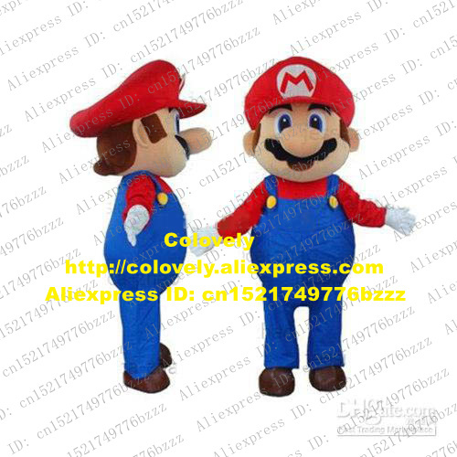 8fe5c71ea Fancy Blue Red Man Super Mario Mascot Costume Mascotte Adult With Big Red  Hat Happy Smiling Face Fancy Dress No.458 Free Ship