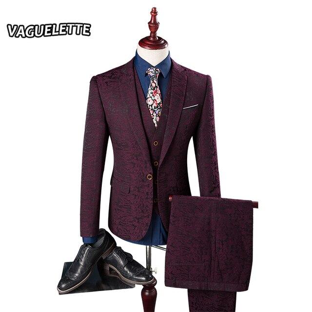 (Пиджак + Брюки + Жилет) Мужчина Костюмы Печатных Цветочные Лозы Моделей Мужская Дизайнерская Одежда Мода Тощий Красный Мужская свадебный Костюм М-3XL