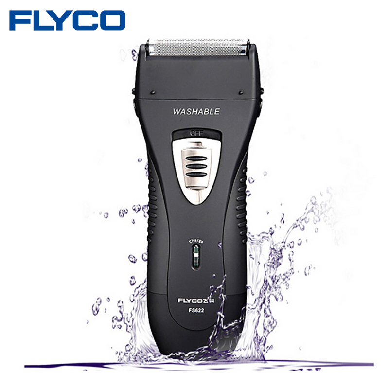 FLYCO Wet/Dry Waterproof Reciprocating Twin Blade Rechargeable Men's Electric Shaver Razor With Pop-up Trimmer Face Care FS622 kemei men s electric shaver cordless rechargeable reciprocating razor wet and dry use beard trimmer men s face care tool km 2016