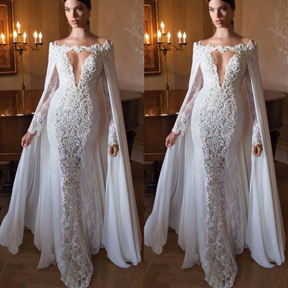 Специальные Дизайн с накидкой Белые Аппликации Кружево вечерние Платья для женщин длинные Для женщин вечерние платья Глубокий V Длинные Ру