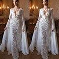 2017 Diseño Con Capa Blanca Apliques de Encaje Vestidos de Noche Vestido de Las Mujeres Largas Formal Vestidos de Noche Profundo V Largos Vestidos de Sirena