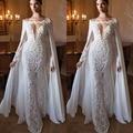 2017 Projeto Com Cabo Branco Apliques de Renda Vestidos de Noite Longo Das Mulheres Vestido Formal Vestidos de Noite V Profundo Longo Sereia Vestidos
