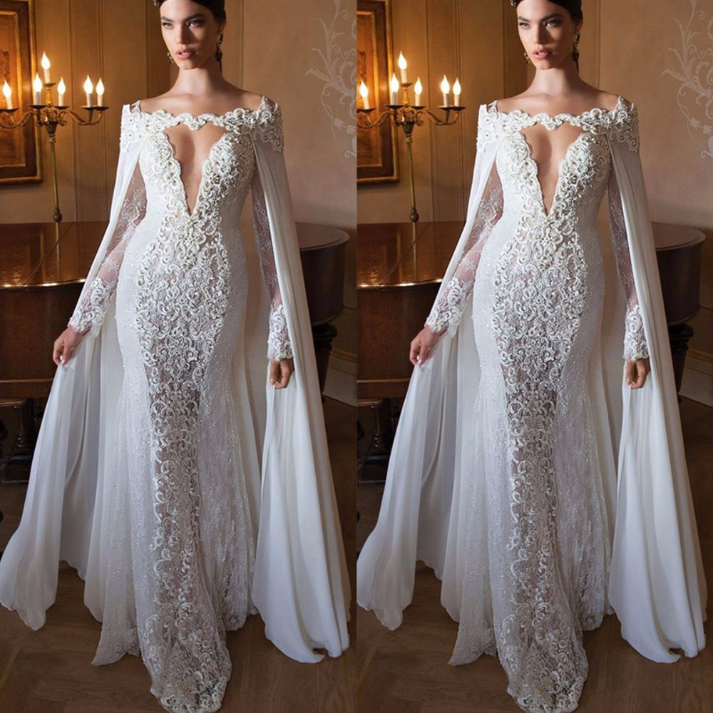 Special Design With Cape White Appliques Lace Evening DResses Long Women Formal Gown Evening Gowns Deep V Long Mermaid Dresses