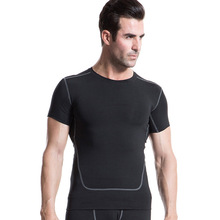 New2016 Men PRO Tights Skins Compression Base Layer Short Sleeve TShirt Tops Bodybuilding Fitness brand clothing T-shirts
