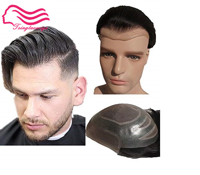 Alitsingtaowigs swiss lace front with fine mono men toupee Versalte brand front lace toupee hair replacement