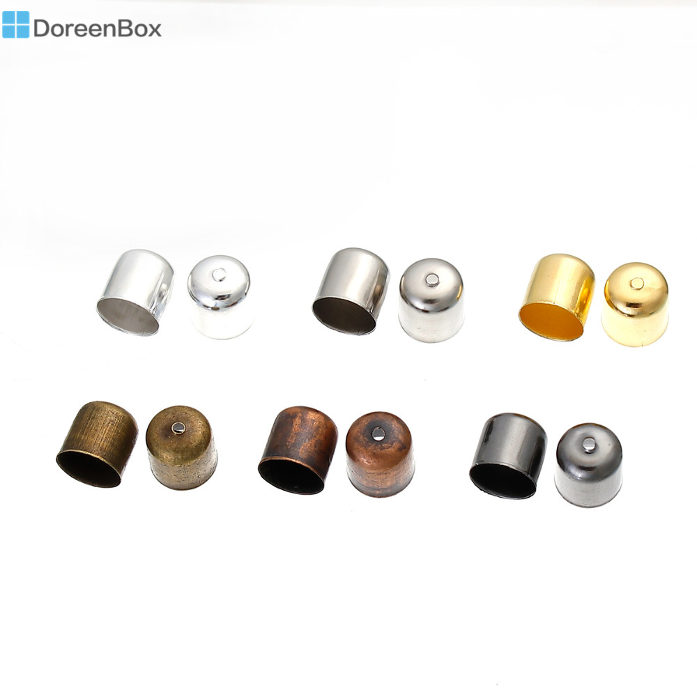 Doreen Box Iron Based Alloy Cord End Caps For Jewelry Necklace Bracelet Cylinder Mixed 11mm( 3/8