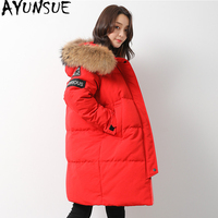 AYUNSUE Down Jacket Woman Hooded Sport Parka Winter Coat Women Raccoon Fur Collar Long Coats Canada Style Parkas Mujer MY1530