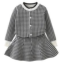 Girls Clothing Long Sleeve Pink Plaid Design, Plaid Skirts 2 Pcs, Kids Clothing Sets