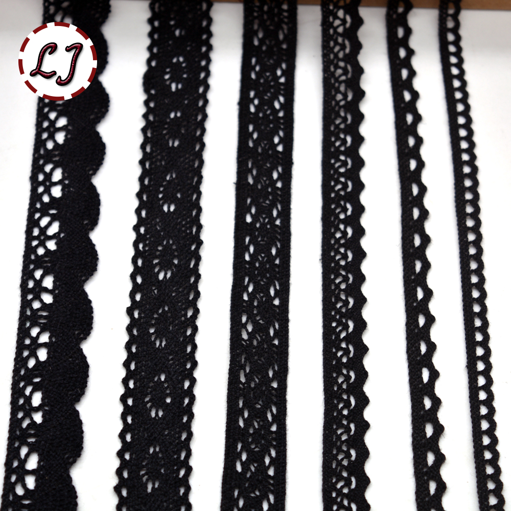 Hot Sale New Arrived 5yd/lot Black Lace Fabric Ribbon Cotton Lace Trim Sewing Material For Home Curtains Garment Accessories DIY