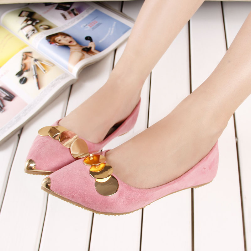 spring 2017 fashion metal chains ring pointed toe flats shoes woman shallow mouth slip women zapatos mujer size 33-43 - Li XinYi Trading Co., Ltd store