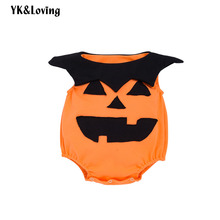 hot deal buy yk&loving halloween baby rompers spring autumn cotton warm orange black printed babygrow rompers clothing sleeveless newborn