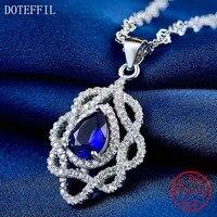 Ocean Heart Sterling Silver Necklace Charm AAAA Blue Zircon Pendant Necklace 925 Silver Luxury Woman Jewelry