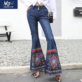 Free Shipping 2019 Fashion Long Pants Embroidery Flower Chinese Style Flare Pants Tassels Trousers Plus Size 26-34 Stretch Jeans цена 2017