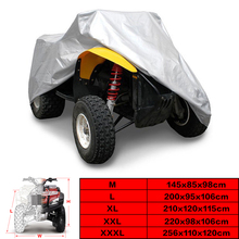Silver Universal 190T Motorcycle Waterproof Cover Quad Bikes ATV For Polaris Honda Yamaha Suzuki Size M
