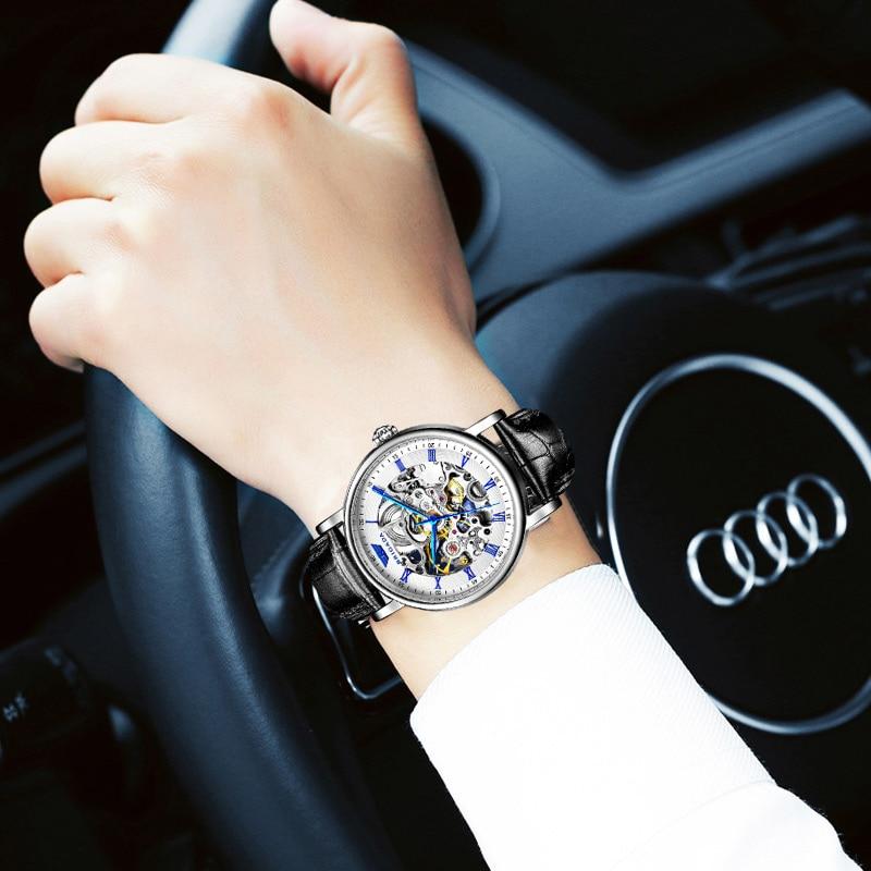 Brigada brand Mechanical Watch Men Automatic Classic Rose Gold Leather Mechanical Wrist Watches Reloj Hombre цена 2017