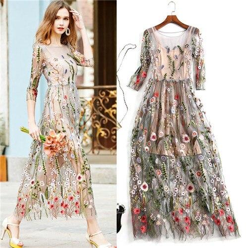 Вечерние платья с вышивкой сетка