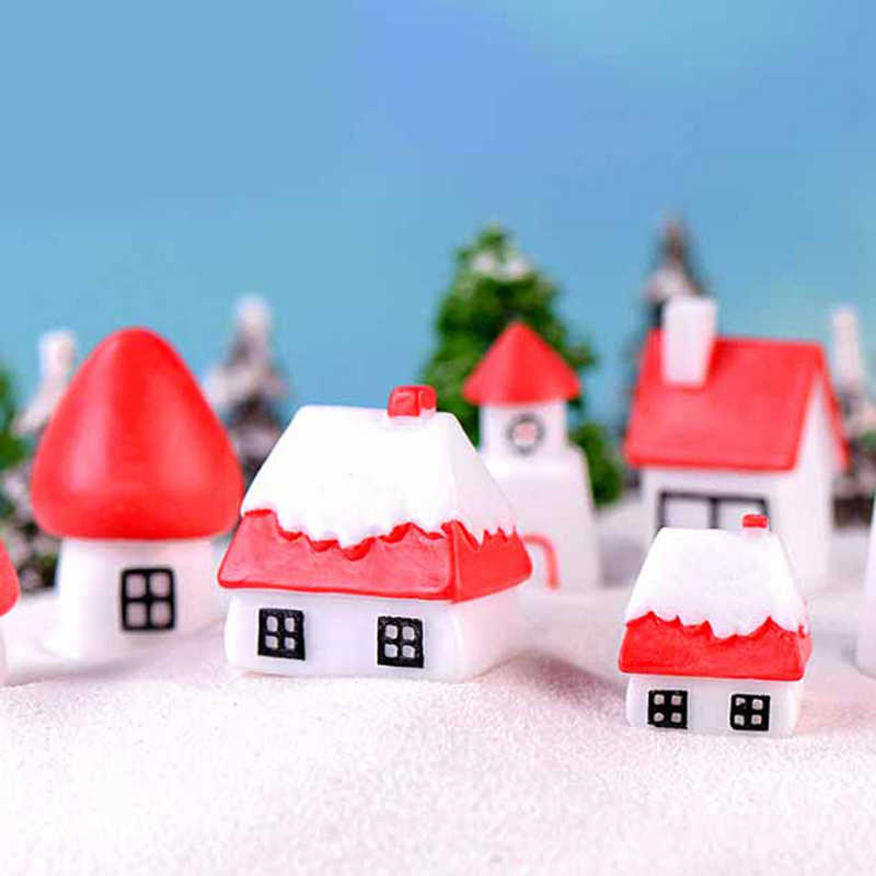 Miniature House For Christmas Decorations Fairy Garden Figurines Doll House Decor Gift Box Terrarium Accessories