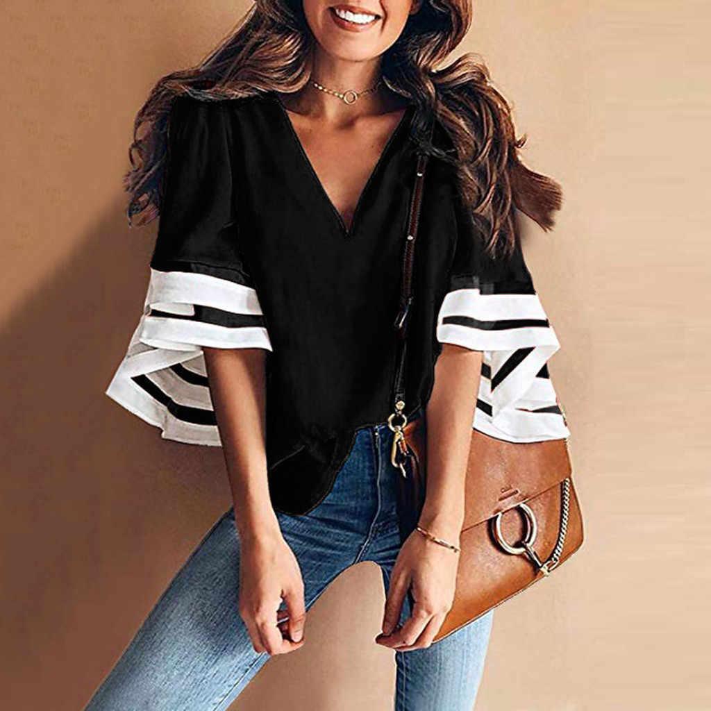 女性夏の ropa の mujer V ネックソリッドベルスリーブシャツカジュアルなルーズトップシフォンブラウスローブフェムセクシー