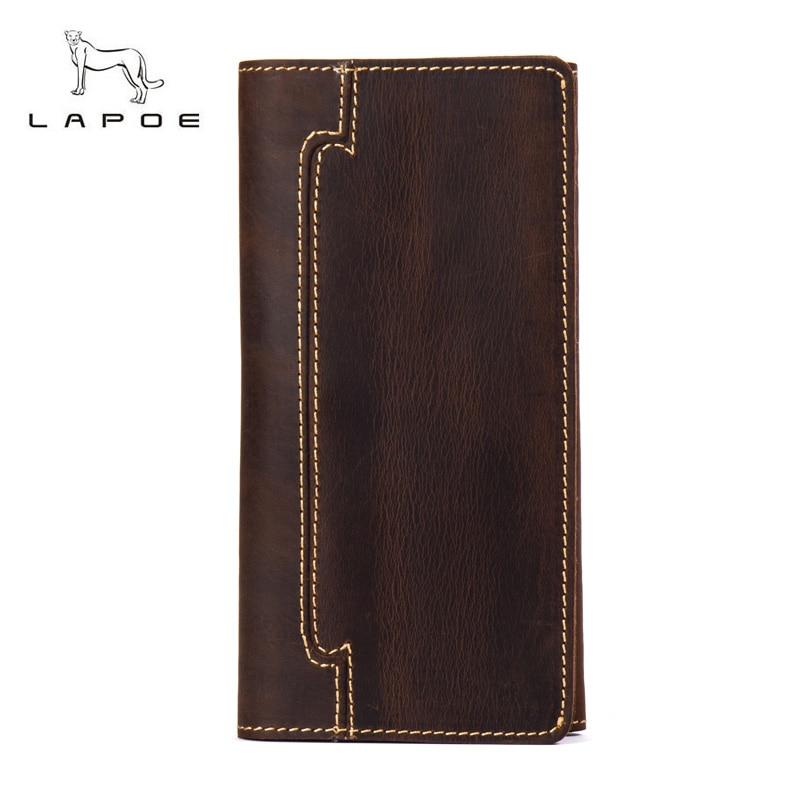 LAPOE vintage crazy horse mens wallets leather genuine long carteira masculina couro bolso men bag multi-card billfold