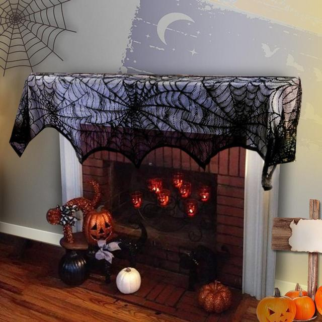 Topaty Bat Spider Web Lace Table Lamp Fireplace Cloth Window Curtain For Party Decor 46x244cm