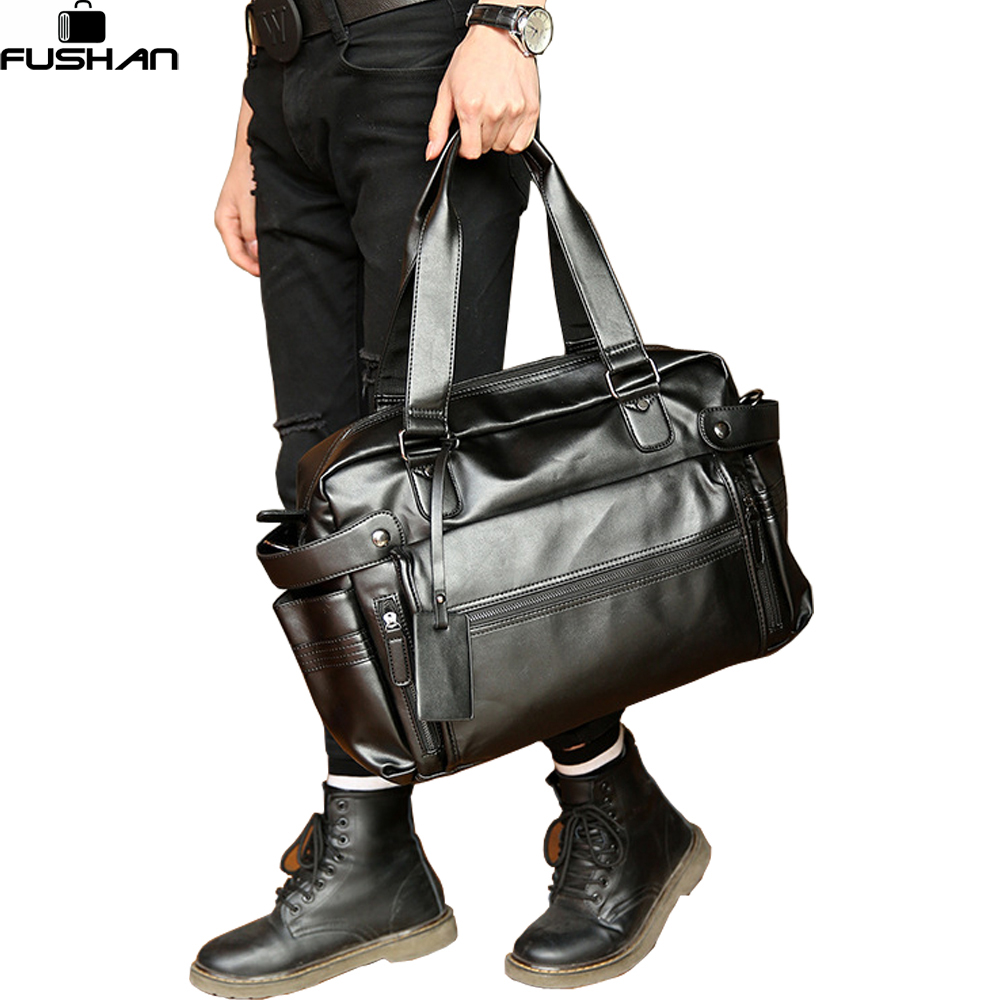 Young Fashion Mens Leather Travel Bag Vintage Duffle Handbags Large Men Business Luggage Bag ...