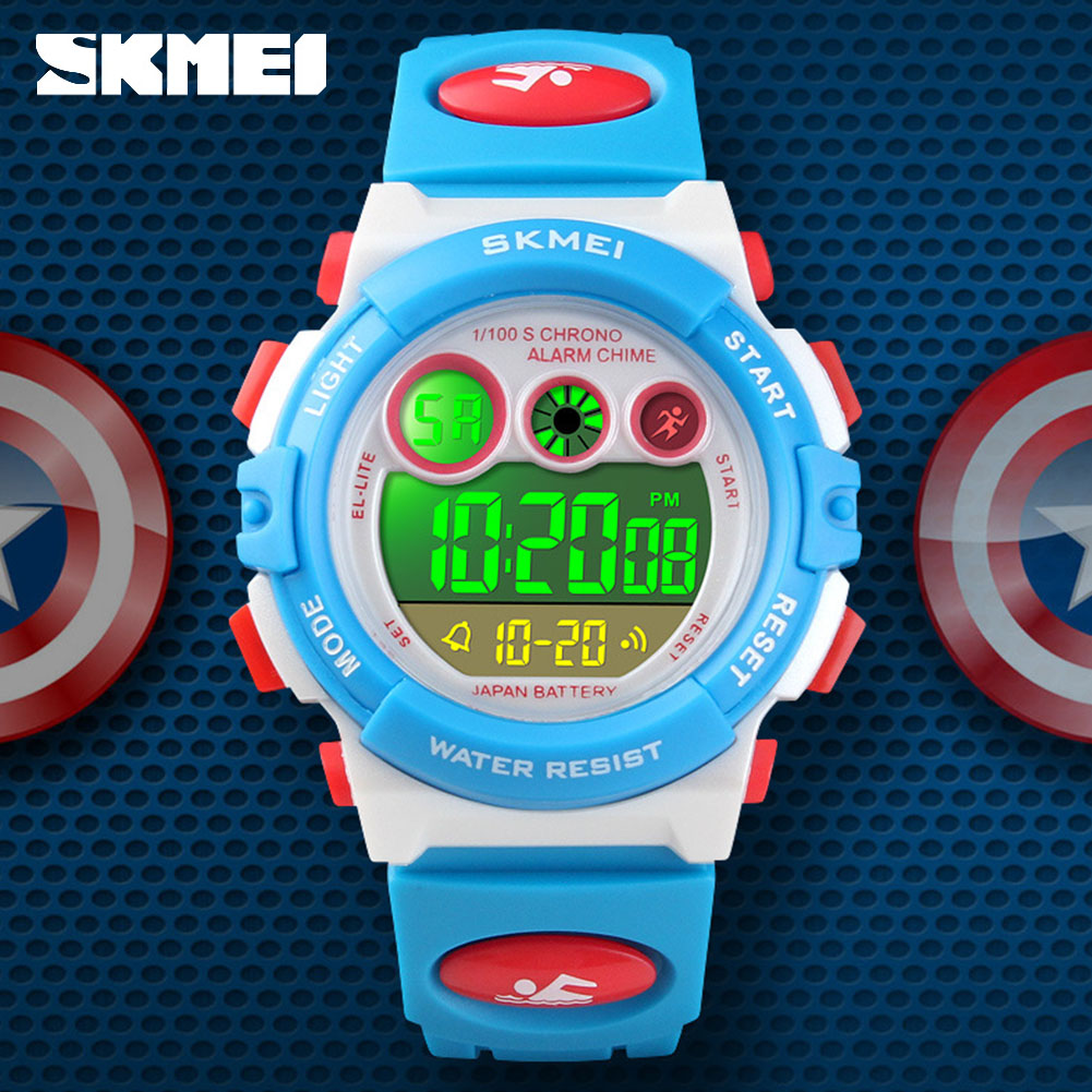 <font><b>SKMEI</b></font> Kids LED Sports Watch 50m Waterproof Children Alarm Digital Clock <font><b>1451</b></font> Chronograph Alarm 12/24 hours image