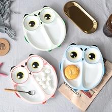 Cartoon Owl Baby Dishes Piatti di sotto-griglia in ceramica Creative bambini irregolari per la tavola per bambini infantili per bambini utensili per l'alimentazione
