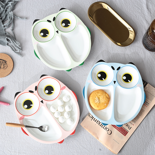 Cartoon Owl Baby Dishes Ceramic Sub-grid Plates Creative Irregular Children Tableware For Infant Toddler & Cartoon Owl Baby Dishes Ceramic Sub grid Plates Creative Irregular ...