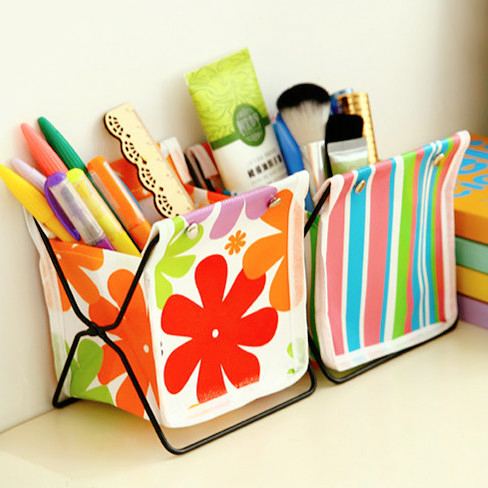 Buy kawaii canvas diy folding pen holder Diy pencil holder for desk