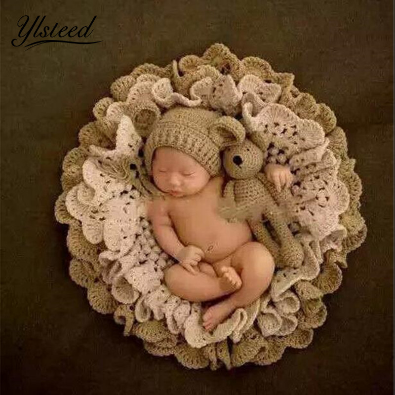 Baby Photography Blanket Crochet Blanket Hat Bear Dolls Knitted Rabbit Hats Toy Baby Photo Props Newborn Fotografia Accessories newborn baby photography props infant knit crochet costume peacock photo prop costume headband hat clothes set baby shower gift