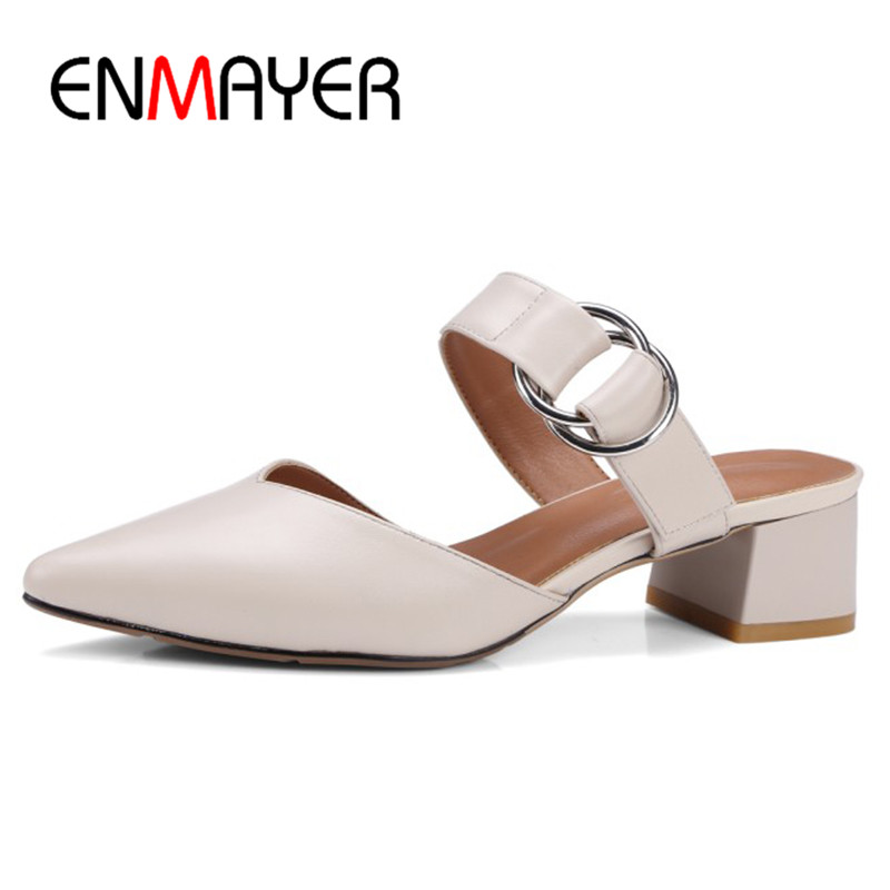ENMAYER Low Heels Pointed Toe Buckle Strap Summer Sandals Shoes Woman Slingbacks Shoes Size 34-40 Genuine Leather Shoes enmayer high heels pointed toe spring