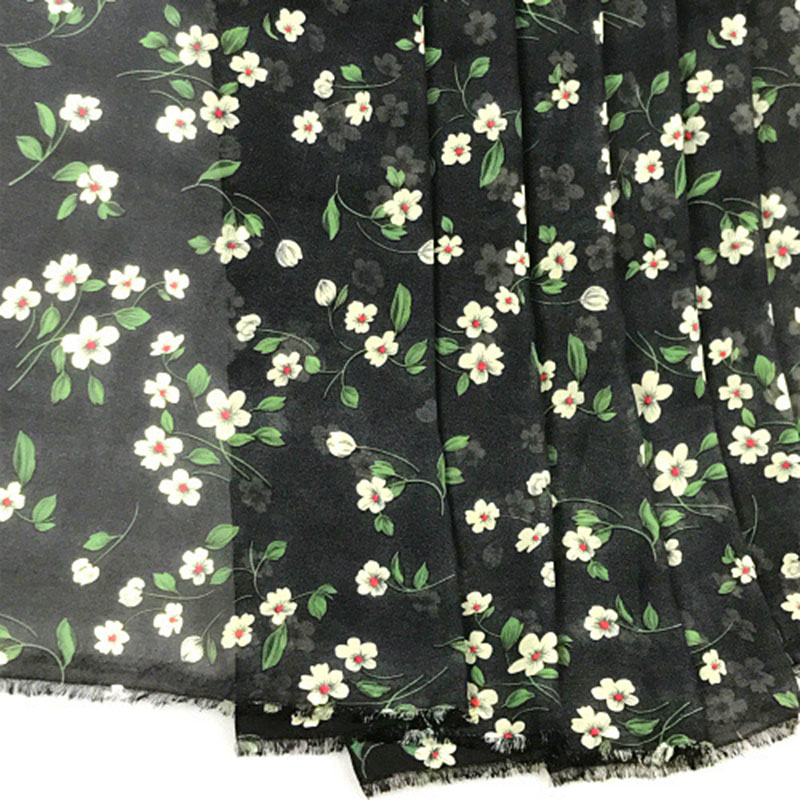 New arrival white ground summer dress gowns fabrics white small new arrival white ground summer dress gowns fabrics white small flowers print black thin chiffon fabric material tissu in fabric from home garden on mightylinksfo