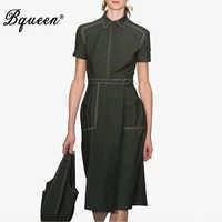 Bqueen 2019 New Casual Dress Pockets Empire Woman Dress