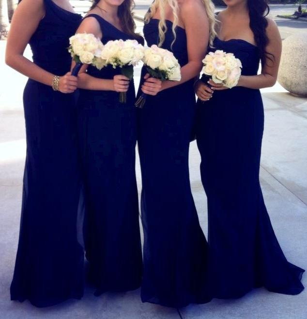 Gorgeous Strapless Pleats Floor Length Affordable Chiffon Mermaid Royal Blue   Bridesmaid     Dresses