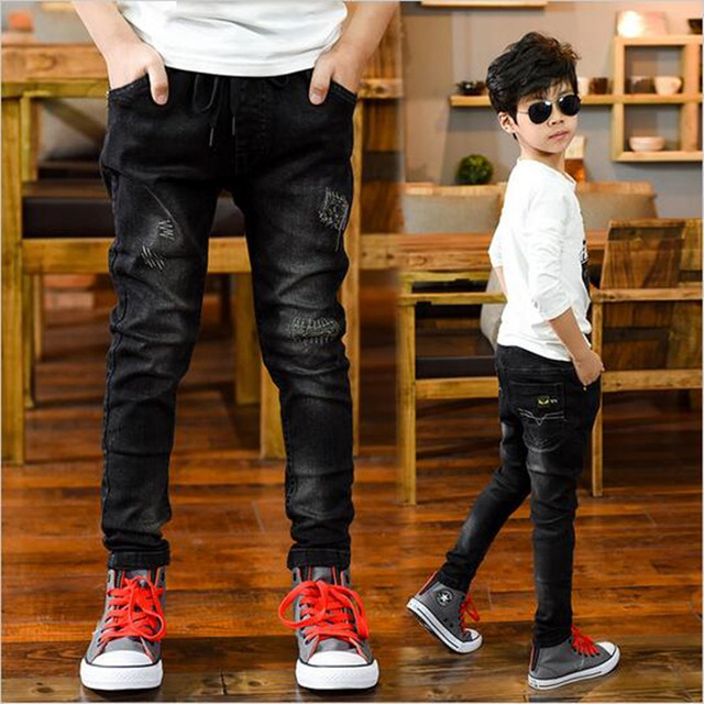 9dd1bb328 Children's clothing male children jeans black trousers thin autumn boy boy  casual pants tight jeans
