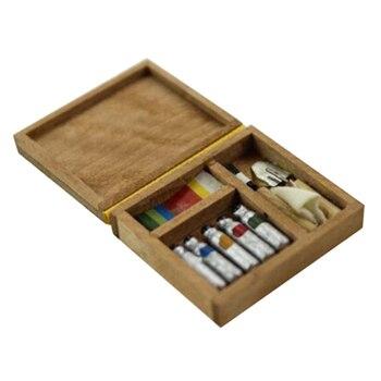 1:12 Doll house Miniature Artist Paint Pen Wood Box Model Toys Doll house Accessories 33 x 29 x 10mm Artist Paint Pen Wooden Box 1