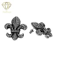 New Design Delicate Shiny Rhinestone Antique Silver Plated Exaggerated Flower Anchor Stud Earrings Statement Jewelry For
