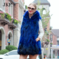 75cm women Custom Hooded  fur vest Raccoon fur coat Real fur vest Hooded Natural color real fur coat winter Warm jacket women