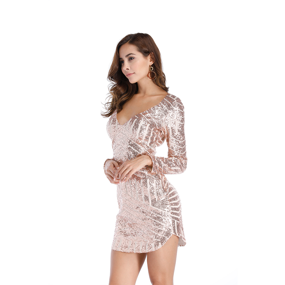 Women Fashion Sequins dress V collar Irregular hem Long sleeves dress Spring Autumn New Female sexy dress Elegant party dress