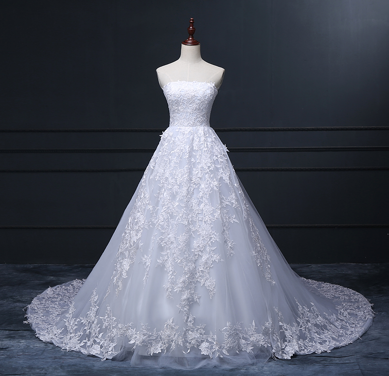 White Lace Tulle Long Wedding Dress Bridal Gown: Real Made Strapless White Lace Tulle Puffy Skirt Long