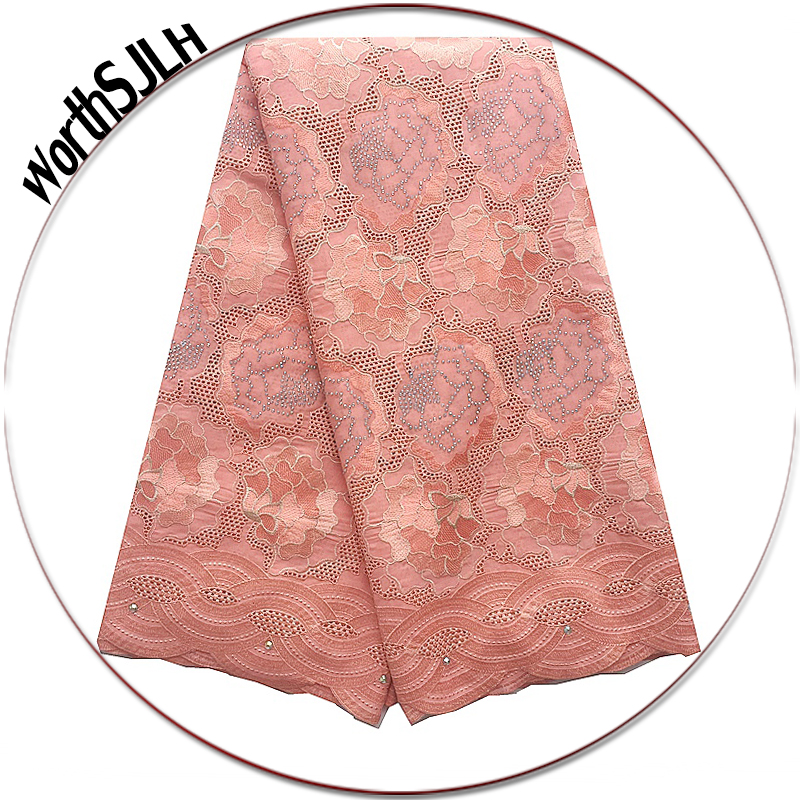Peach Aqua Hand Cut Swiss Fabric Lace Material African Voile High Quality For Wedding 2018