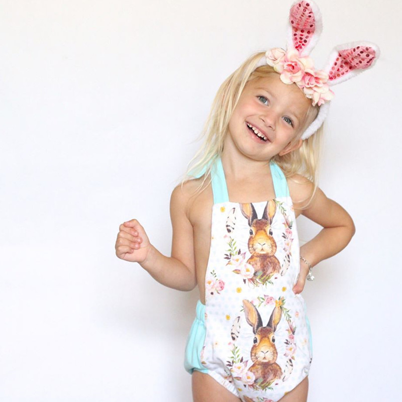 Easter Baby Clothing Girls Rabbit Cotton   Romper   Kids Cartoon Bunny Easter Jumpsuit Floral Baby Boys Clothes 6M-18M H0006