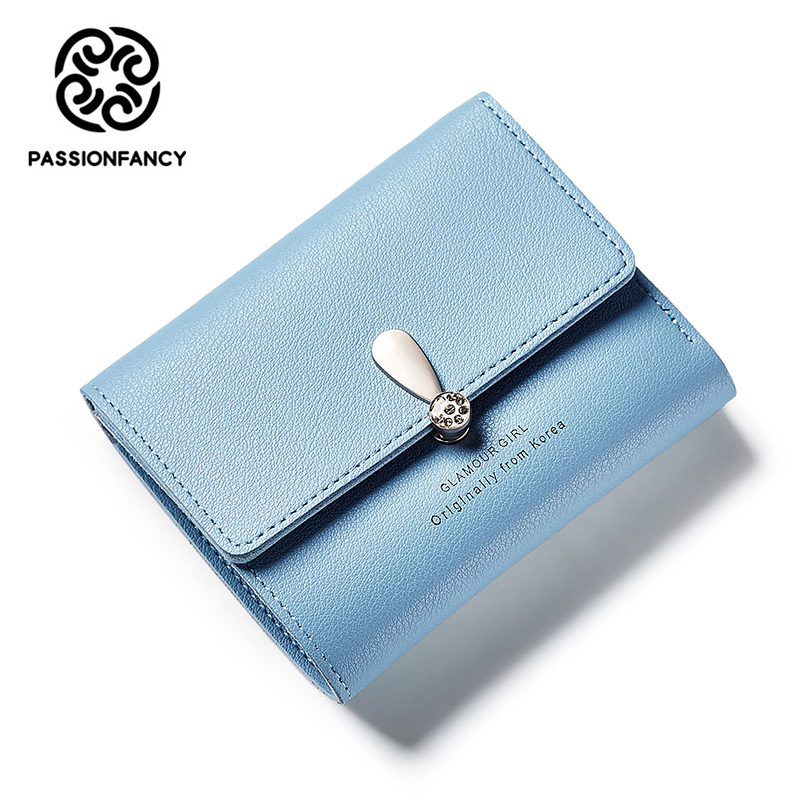 Small Candy Leather Wallet Women 2017 New Wallet female Card id Holders Three Bifold Cute Purse Womens Wallets and Purses cuzdan