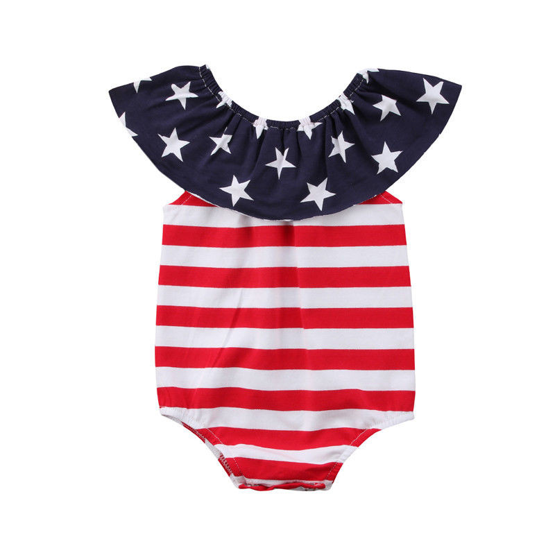 Baby Boys Outfits American Flag Patriotic Girl Dresses Newborn Infant Boy Rompers Baby Jumpersuits Girls children Clothes P5
