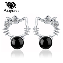 Cat Design 925 Sterling Silver Earrings 925 Silver Cubic Zircon Stud Earrings For Women Reb/Black Available