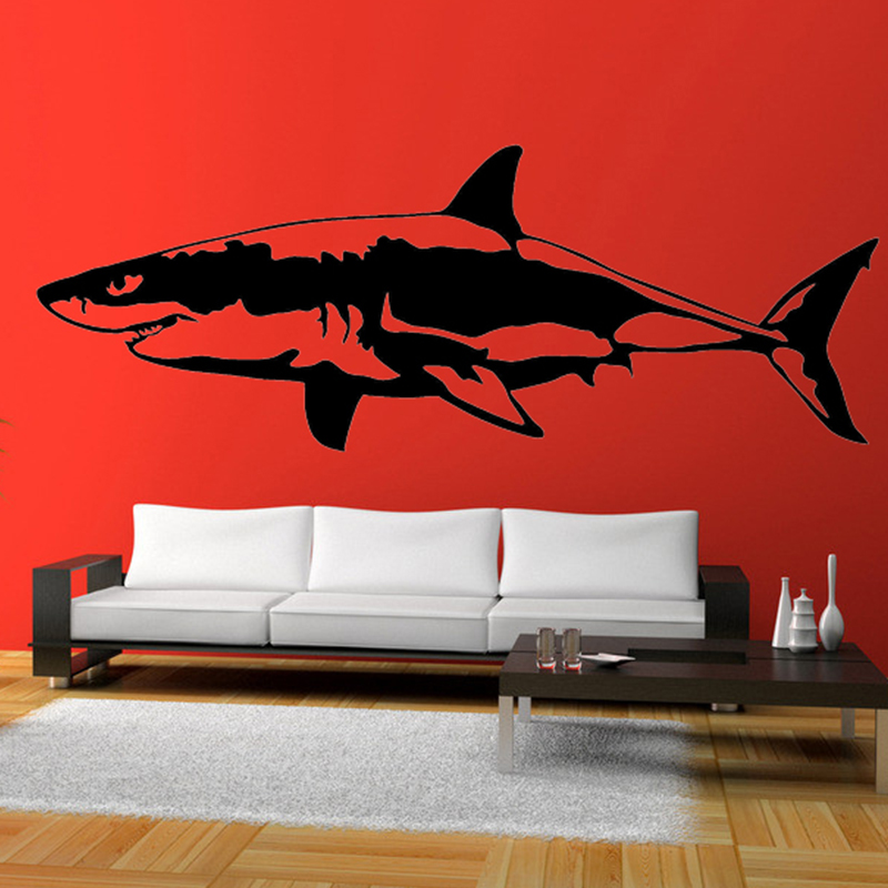 HotMeiNi 58cm x 21.65cm 2 x Great White Shark (one For Each Side)Vinyl Decal Car Window Wall Novelty Sticker Fish Jaws robo fish shark style electronic fish toy blue white 2 x lr44