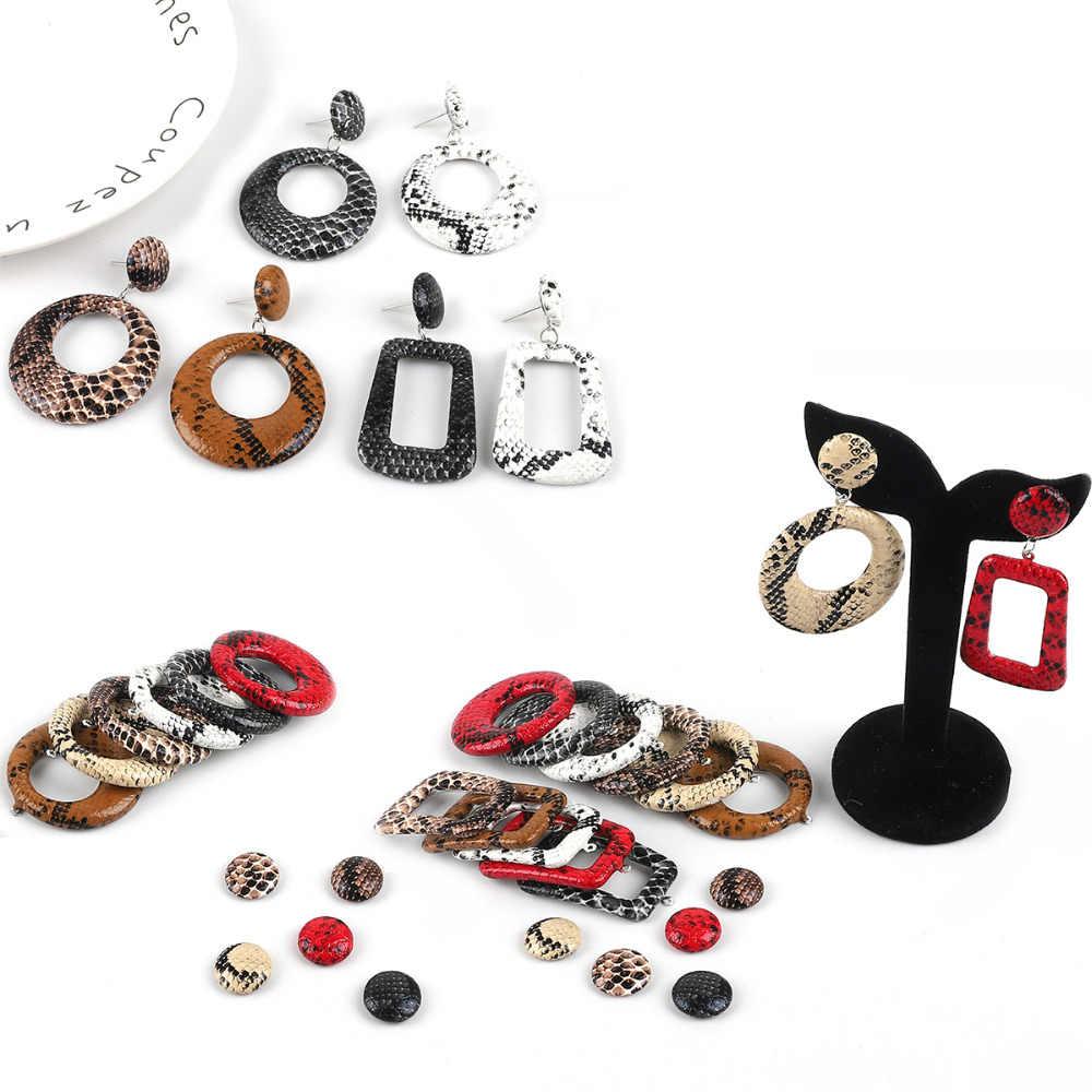 เสือดาวพิมพ์หนัง PU Charm จี้สำหรับ DIY สตั๊ด Drop ต่างหูทำสร้อยคอเครื่องประดับอุปกรณ์เสริม