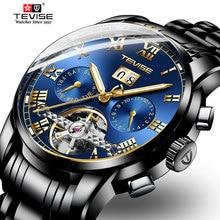 Mens אוטומטי שעונים יוקרה זהב נירוסטה Tourbillon גברים שעון מכאני שעוני יד לגברים Relogio Masculino TEVISE