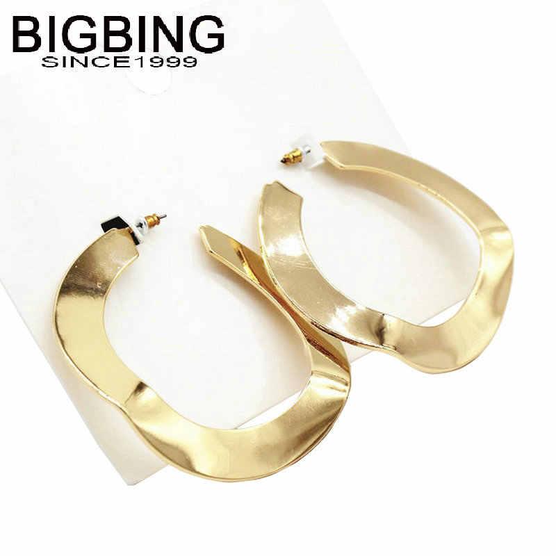 V131 BIGBING גדול זהב כסף מעגל stud עגיל חרוזים עגיל תכשיטים אופנה עגיל באיכות טובה